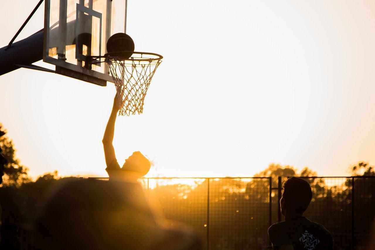 playing basketball at sunset, sports