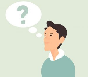 a person thinking or wondering about something, cartoon drawing of a man with a question mark bubble next to his head