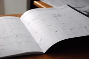 planner showing a calendar