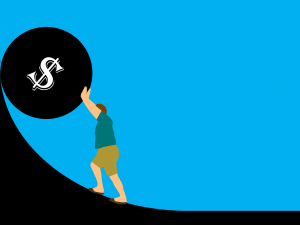 person pushing a money symbol up a curved incline, representing the burden of debt