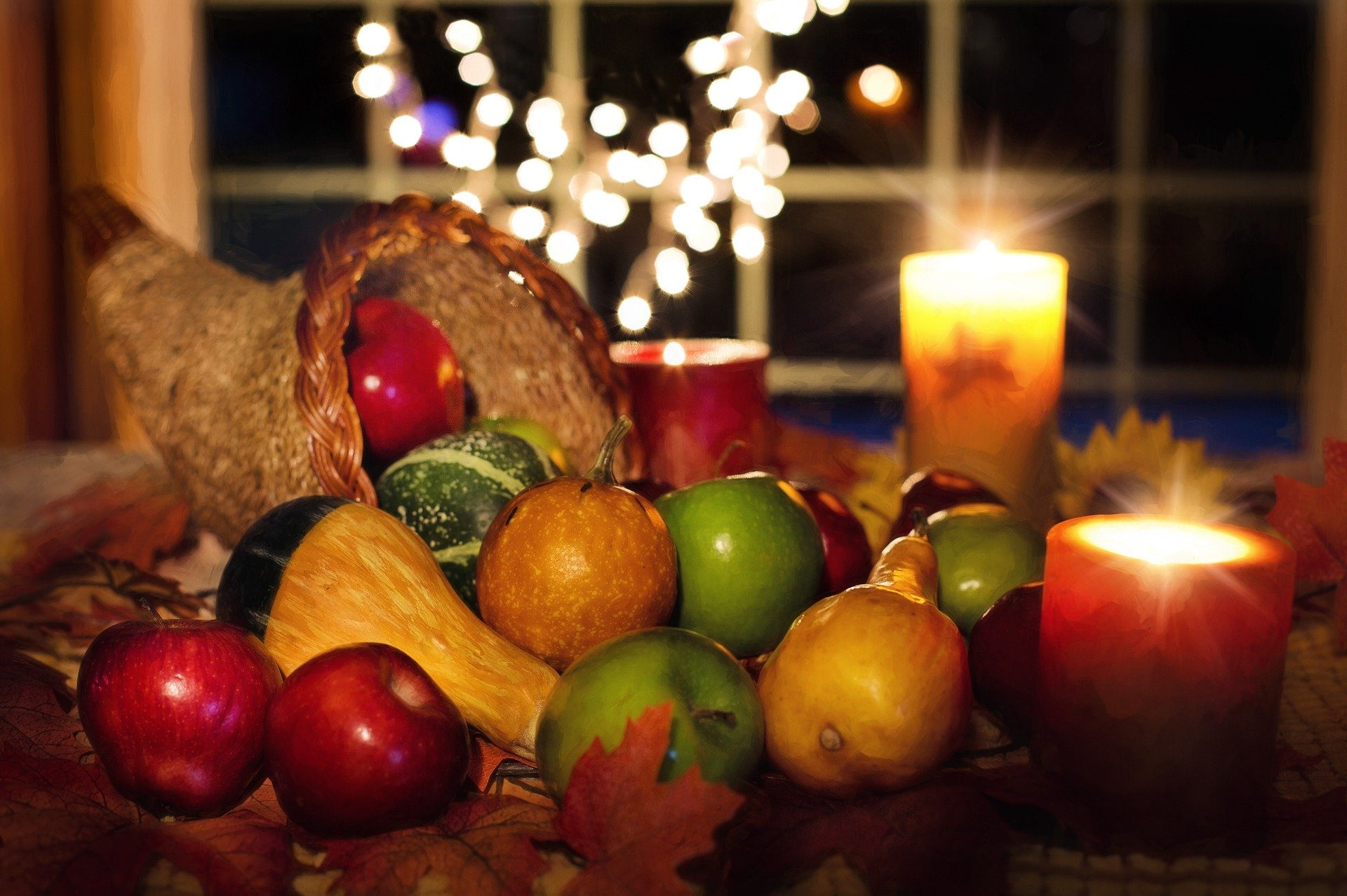 a cornucopia of fruit and vegetables for Thanksgiving