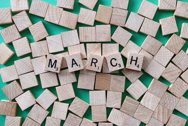 "scrabble pieces spelling ""March"" related to marketing and management tips for March"